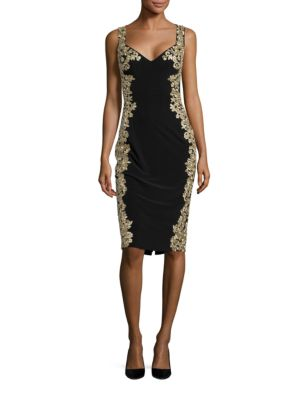 Metallic Embroidered Cocktail Dress by Betsy & Adam