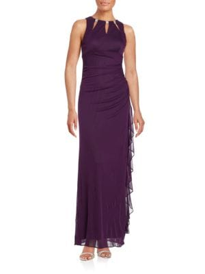 Ruffled Cutout Gown by Betsy & Adam