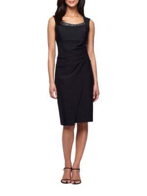 Beaded Neckline Sleeveless Dress by Alex Evenings