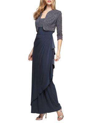 Glittered Matte Jersey Dress and Bolero Jacket Set by Alex Evenings