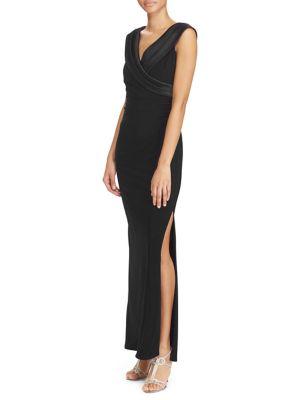Satin-Neckline Jersey Gown by Lauren Ralph Lauren