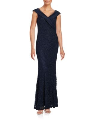 Sleeveless Flared Glitter Lace Gown by Decode 1.8