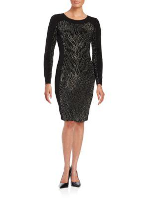 Solid Embellished Sheath Dress by Calvin Klein