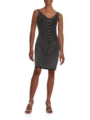 Embellished Chevron Sheath Dress by Calvin Klein