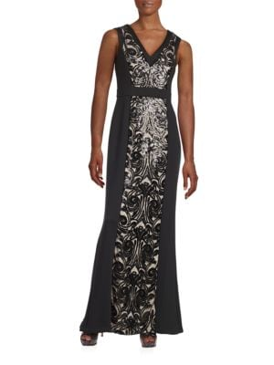 Sequined Mesh-Accented Gown by Calvin Klein
