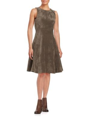 Faux Suede Flounce Dress by Ivanka Trump