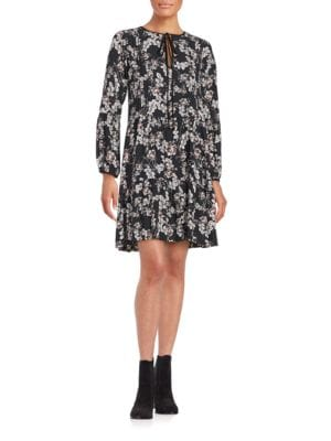 Floral Long Sleeve Baby Doll Dress by Erin Fitzpatrick