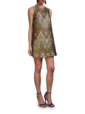 Sleeveless Gilded Shift Dress by Cynthia Rowley