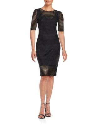 Striped Mesh Sheath Dress by Belle Badgley Mischka