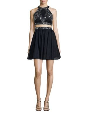 Sleeveless Embellished Two-Piece Dress by Blondie Nites