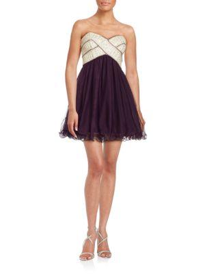 Embellished Strapless Dress by Blondie Nites