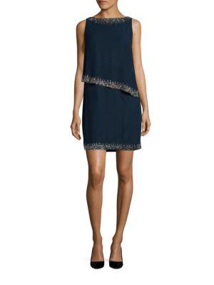 Petite Beaded Overlay Sheath Dress by J Kara