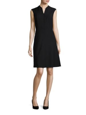 Solid Zip-Front A-Line Dress by Ellen Tracy