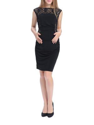 Maternity Shirred Lace Panel Dress 500046903910