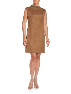 Embellished Faux Suede Sheath Dress by Vince Camuto