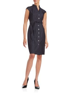 Chambray Button-Front Sheath Dress by Calvin Klein