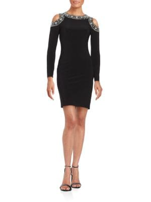 Cold-Shoulder Beaded Dress by Betsy & Adam