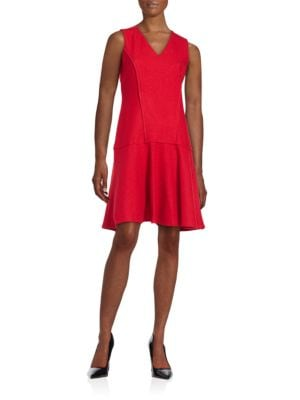 Fit and Flare Drop Waist Wool Blend Dress by Karl Lagerfeld Paris