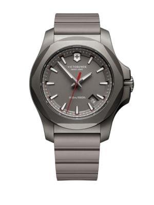 Image of Round Rubber Strap Analog Titanium Watch