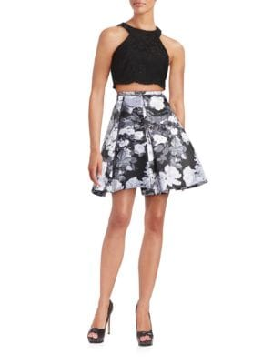 Two-Piece Lace and Floral Dress by Xscape