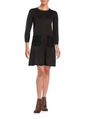 Faux Suede-Trimmed Sweater Dress by Calvin Klein
