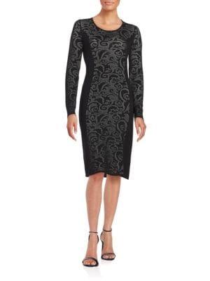 Long-Sleeve Pointelle Sheath Dress by Calvin Klein