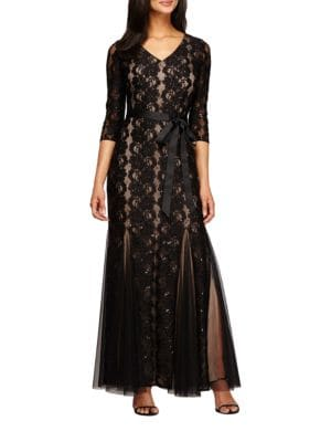 Fit and Flare Lace Gown by Alex Evenings