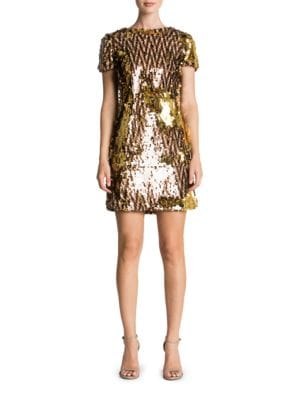 Ellen Sequined Short Sleeve Shift Dress by Dress The Population