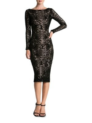 Emery Art Deco Sequin Midi Dress by Dress The Population