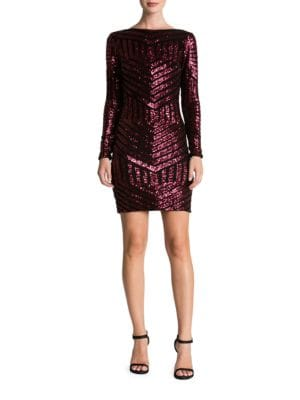 Sequined Long Sleeve Bodycon Dress by Dress The Population
