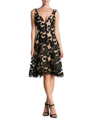 Maya V-Neck Lace Fit-&-Flare Dress by Dress The Population