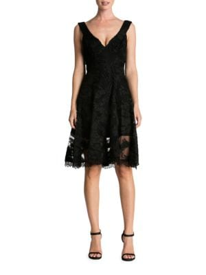Maya Floral Lace Fit-&-Flare Dress by Dress The Population