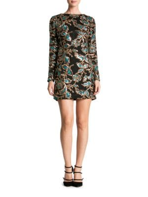 Sequined Leaf Motif Sheath Dress by Dress The Population