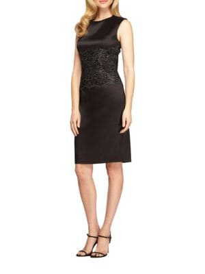 Solid Embroidered Waist Shift Dress by Alex Evenings