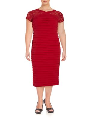 Space Tucked Mesh Sleeve Dress by London Times
