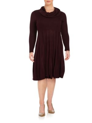 Cowlneck Fit-and-Flare Sweater Dress by Calvin Klein Plus