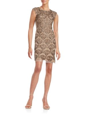 Cap Sleeve Beaded and Sequin Sheath Dress by Aidan Aidan Mattox