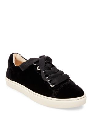 Lacy Velvet Lace-Up Sneakers by Betsey Johnson
