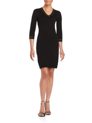 Studded V-Neck Sweater Dress by Calvin Klein