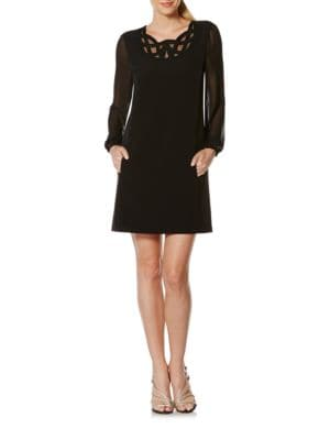 Long Sleeve Scroll Neck Dress by Laundry by Shelli Segal