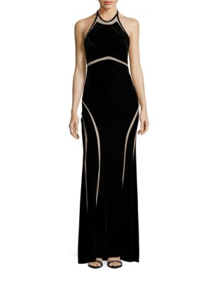 Velvet Halter A-Line Gown by Xscape