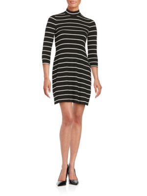 Striped Mockneck Sheath Dress by Eliza J