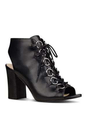 Photo of Bree Leather Peep-Toe Shootie by Nine West - shop Nine West shoes sales
