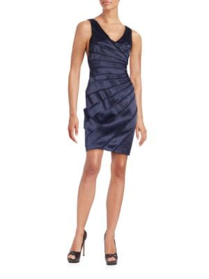 Sleeveless Satin Sheath Dress by Tahari Arthur S. Levine