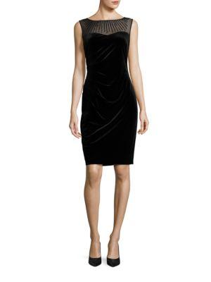 Beaded Illusion Neck Velvet Dress by Ellen Tracy