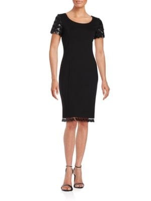 Sequined Short-Sleeve Sheath Dress by Nue By Shani