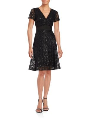 Short-Sleeve Sequined Lace Fit-and-Flare Dress by Nue By Shani