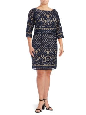 Jewelneck Lace Embroidered Dress by Gabby Skye