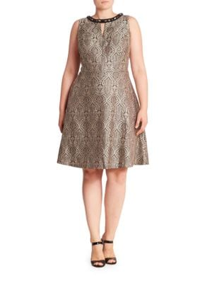 Roundneck Jacquard Fit and Flare Dress by London Times