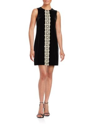 Crochet-Accented Velvet Shift Dress by Jessica Simpson